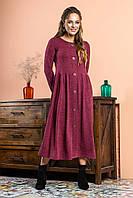 Бордовое платье с пуговицами и карманом на груди