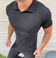 Мужская футболка поло темно серая Турция. Живое фото. Топ качество