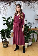 Бордовое платье с запахом и поясом