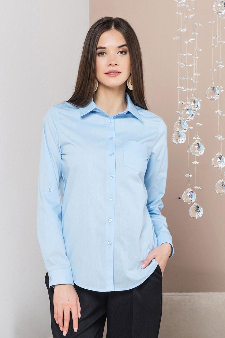 Голубая рубашка с 1 карманом