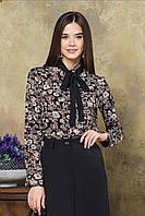 Блузка с черным галстуком цветы на черном, фото 1