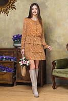 Шифоновое платье в мелкий цветочек горчичного цвета