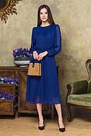 Синее шифоновое платье с объемными рукавами, фото 1