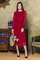 Темно-красное шифоновое платье с объемными рукавами