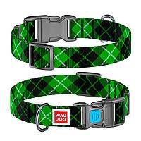"""Ошейник WAUDOG Nylon с рисунком """"Шотландка зеленая"""" 15 мм 23-35 см"""