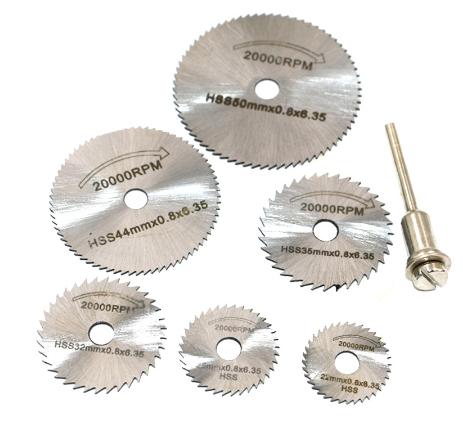 Набор пильных дисков отрезных 6шт и держатель для граверов и бормашинок