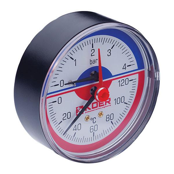 Термо-манометр аксиальный (KOER KM.802A) (0-4 bar), D=80мм, 1/2'' (KR0222)