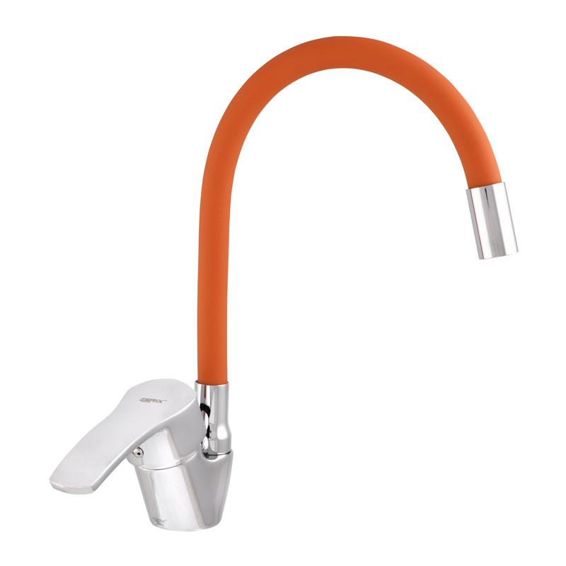 Змішувач для кухні ZERIX YUB 279 з помаранчевим гнучким виливом (ZX0443)