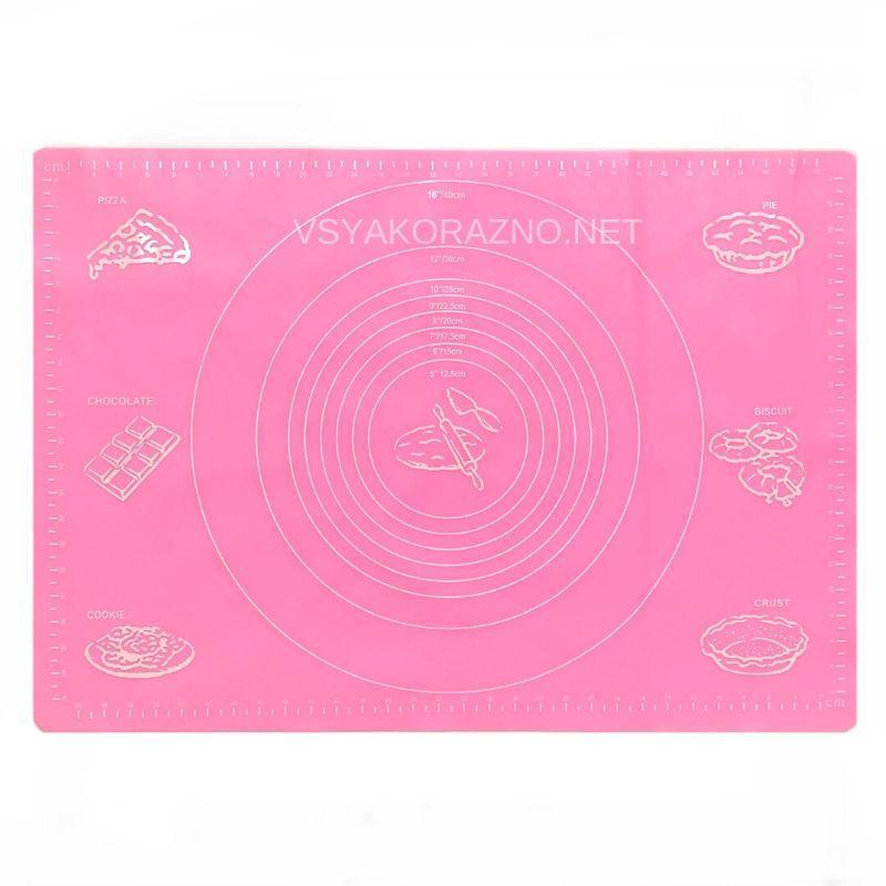 Силиконовый коврик для раскатки теста 62*42 (розовый)