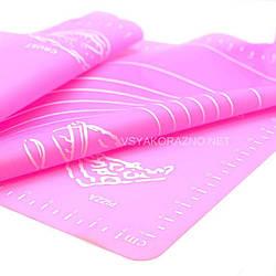 Силиконовый коврик для раскатки теста 70*70 (розовый)