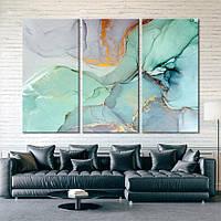 Картина - Мрамор - Абстракция Fluid Art - 3 модуля из стекла