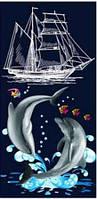 Пляжное полотенце Корабль и дельфины