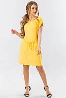 Желтое летнее платье с манжетом, фото 1