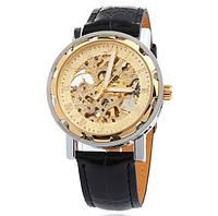 Мужские часы классические механические c автоподзаводом Winner Simple Gold 1106