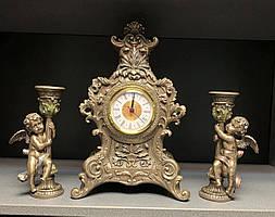 Каминный набор Veronese с часами и подсвечниками-ангелочками