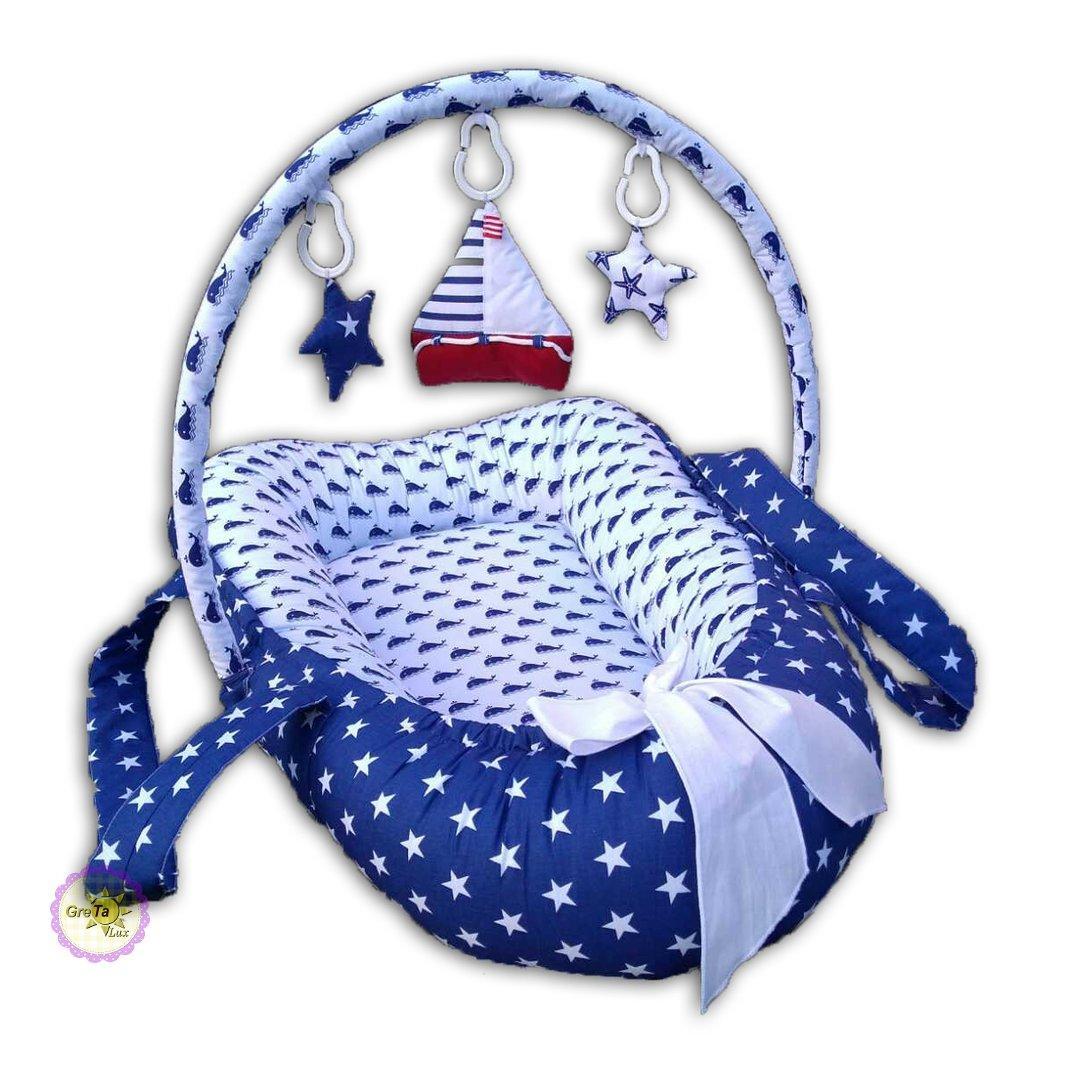Позиционер гнездышко игровой кокосовый матрас с ручками синий
