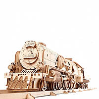Механический 3D пазл UGEARS Локомотив с тендером V-Экспресс (70061), фото 1