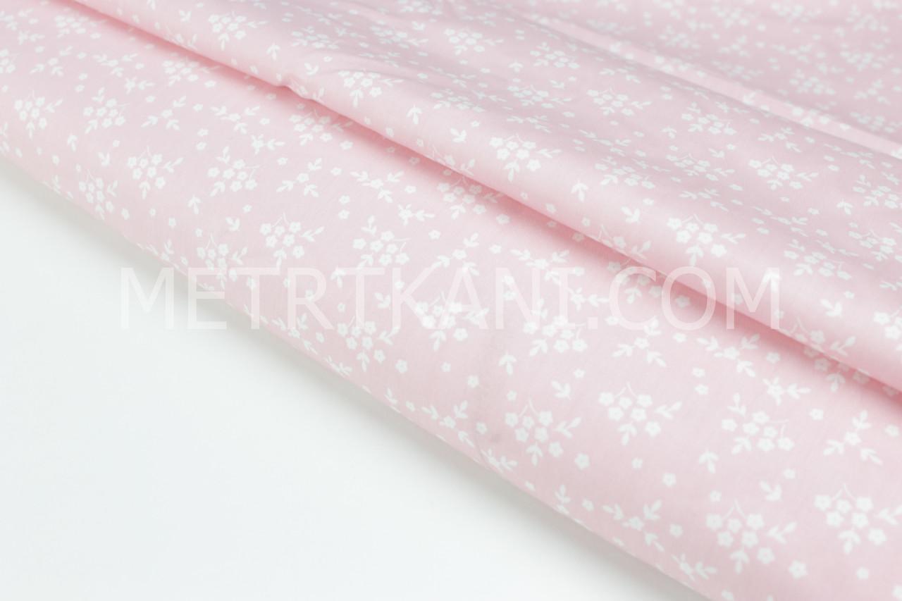 """Сатин """"Мини цветочки белые""""  на розовом фоне № 160-274 с"""