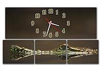 Модульная картина часы настенные 30х90 30х23 30х23 30х23 см, оригинальный подарок руководителю в офис