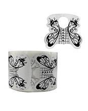 Форма для наращивания ногтей Черная бабочка , широкая , рулон 300  шт