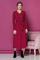 Малиновое платье с V-образным вырезом и пуговицами, фото 1