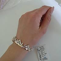 Серебряный браслет с позолотой и белыми камнями, фото 1