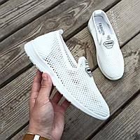 Слипоны белые мокасины летние кроссовки сетка легкие сліпони білі арт 673