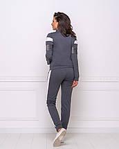 Женский спортивный повседневный костюм штаны с лампасами и кофта темно-серый, фото 3
