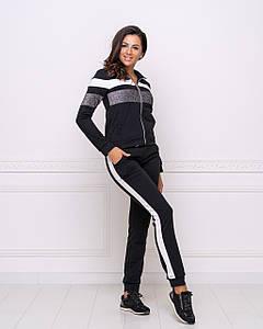 Женский модный спортивный костюм штаны с лампасами и кофта черный
