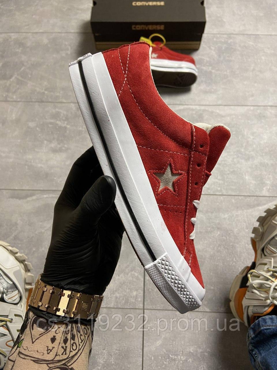 Женские кеды Converse One Star Premium Suede Red (красные)