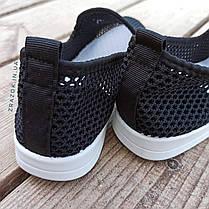Сліпони чорні мокасини літні кросівки сітка текстиль жіночі легкі сліпони чорні арт 675, фото 3