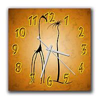 Оригинальные часы настенные на кухню Абстракция с жирафой и пальмой 30х30 см