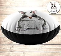 Кругла подушка-пуфік з принтом на тему: Милий білий кролик