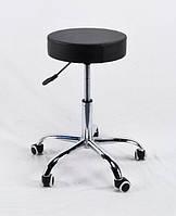 Стул на колесиках с подъемным механизмом - идеален для салонов красоты, студий в эко-коже черный Key