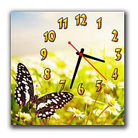 Креативные часы картина настенные на кухню Бабочка на ромашках 30х30 см