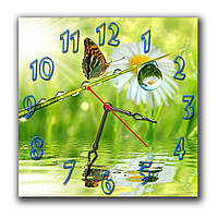 Красивые часы настенные на кухню Бабочка с каплей  30х30 см