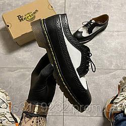 Мужские классические туфли Dr Martens 1461 Low Retro Black and White (черно-белый)