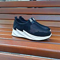 Кросівки сліпони без шнурків на товстій підошві текстильні чорні білі літні в стилі shark adidas, фото 3