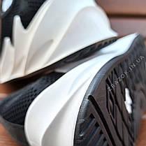 Кросівки сліпони без шнурків на товстій підошві текстильні чорні білі літні в стилі shark adidas, фото 2