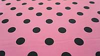 Ткань розовый супер-софт в черный горошек, фото 1