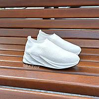 Только 39 размер Кроссовки без шнурков на толстой подошве текстильные белые летние в стиле shark adidas