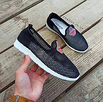 Сліпони чорні мокасини літні кросівки сітка текстиль жіночі легкі сліпони чорні кросівки сітка арт 675, фото 3
