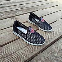 Слипоны черные мокасины летние кроссовки сетка текстиль женские легкие сліпони чорні кросівки сітка арт 675