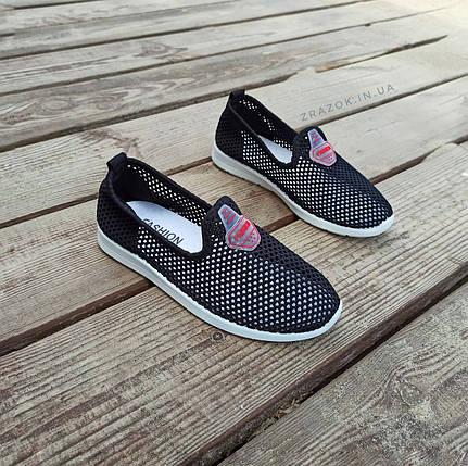 Сліпони чорні мокасини літні кросівки сітка текстиль жіночі легкі сліпони чорні кросівки сітка арт 675, фото 2