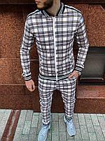Спортивный костюм мужской модный стильный бежевый в клеточку Тренер, фото 1