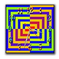 Оригинальные квадратные часы настенные Цветные квадраты 30х30 см