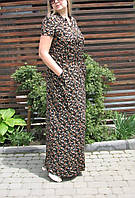 Летнее длинное платье в пол цветочный принт 44 48 50 52 54 56 /  ПИ-1