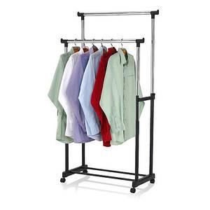 Двойная телескопическая стойка для одежды  на колесиках с полкой  для обуви