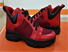 Женские кроссовки летние красные кожа на толстой подошве 455001