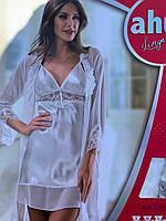 Атласный набор халат и ночная рубашка, Производитель Турция, цвет белый, размер s